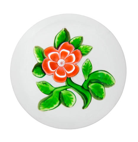 A Baccarat red primrose paperweight