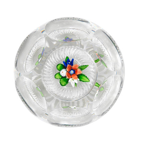 A St. Louis faceted upright bouquet paperweight