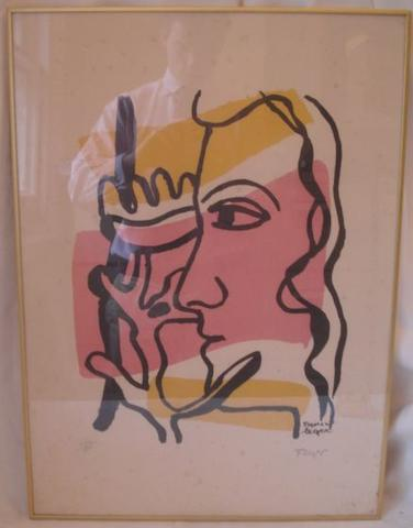 Fernand Legere - Stylised Head lithograph in colours, printed signature pencil numberd 444/500, blind stamp,