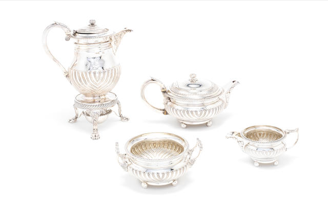 A George III four-piece tea and coffee service By Thomas Robins, London 1814-16  (5)