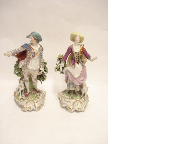 A pair of Dresden Chelsea style figures