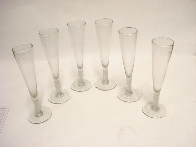 A set of six Dutch soda glass opaque twist flutes 19th century