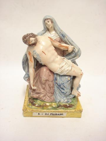 A pearlware pieta group in the manner of Wood Circa 1800