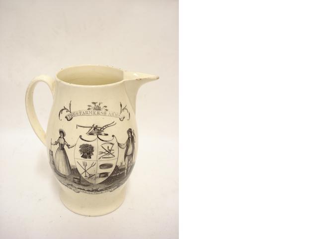 A Liverpool creamware farmer's arms jug Circa 1800