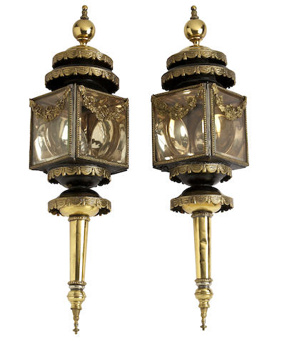 A pair of late Victorian brass and black-painted sheet metal funerary carriage lampsConverted to electricity