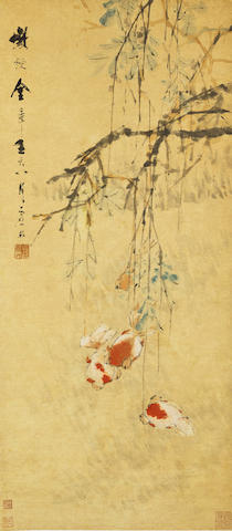 Xu Gu (1823-1896) Gold Fish under Wisteria