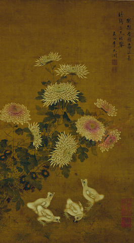 Li Yuankai (Qing Dynasty) Chrysanthemums and Chicken