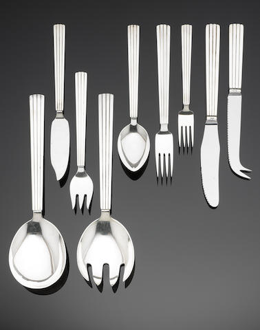 GEORG JENSEN: A GEORG JENSEN: A Bernadotte part canteen of flatware (28) silver Bernadotte pattern table service of flatware, post 1945 mark, also marked STERLING DENMARK,   (28)
