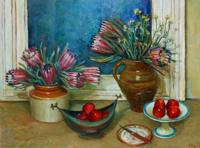 Margaret Olley (1923-2011) Proteas with Apples 1980