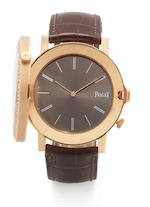 Piaget. An 18ct rose gold diamond set dual dial manual wind wristwatch Altiplano 'Double Jeu', No.43/50, GOA32151,