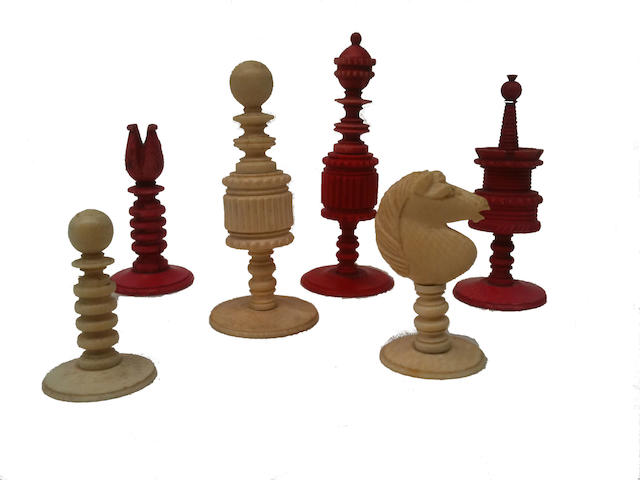 An ivory chess set, English, circa 1870,