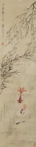 Xu Gu (1823-1896)  Gold Fish Under Spring Flowers