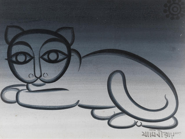 Jamini Roy (India, 1887-1972) Untitled (Recumbent Cat),