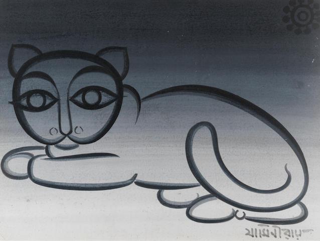Jamini Roy (India, 1887-1972) Untitled (Recumbent Cat),
