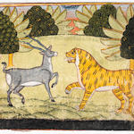 Eight paintings in a 'folk' style Rajasthan, 19th Century(8)