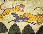 Eight illustrated leaves from a dispersed manuscript in nagari script, depicting tigers attacking deer, a prince hunting a tiger with a bow and arrow, a prince on a terrace with maidens, the god Ganesh, and other subjects Rajasthan, probably Marwar, circa 1800(8)