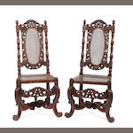 A pair of 17th Century style walnut chairs