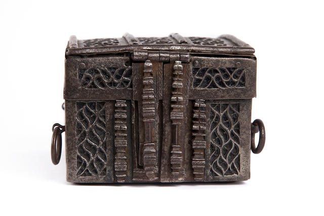 A fine and rare mid-15th century oak and iron-bound coffret or missal box, French, circa 1440 - 60