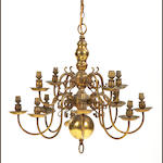 A 20th century brass twelve-branch chandelier, in the Dutch 17th century mannerFitted for electricity
