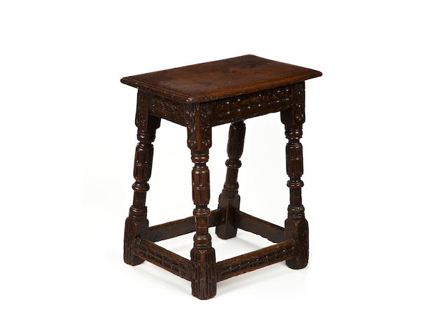 A rare Elizabeth I/James I oak joint stool Circa 1600-20