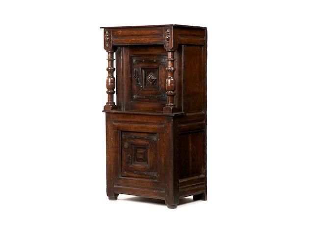 A rare Elizabeth I small oak cupboard Circa 1570-1590