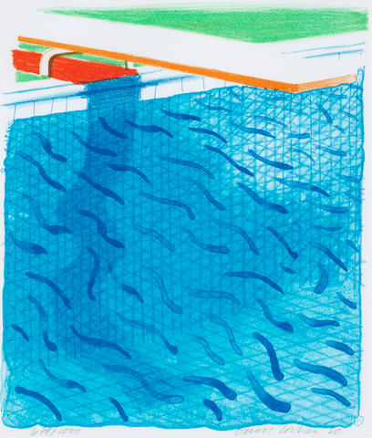 David Hockney R.A. (British, born 1937) Paper Pools (MCA Tokyo 234)  Lithograph in colours, 1980, on Arches cover paper, signed and dated in pencil, numbered 678/1000, published by Tyler Graphics, Ltd., Mount Kisco, New York, 1980, with their blindstamp; with the accompanying book Paper Pools, with title, text and justification, signed by the artist on the justification in red ink, copy 678 of 1000, within the original blue canvas cloth binding and slipcase, 265 x 225mm (10 1/8 x 8 7/8in)(framed print & Vol)