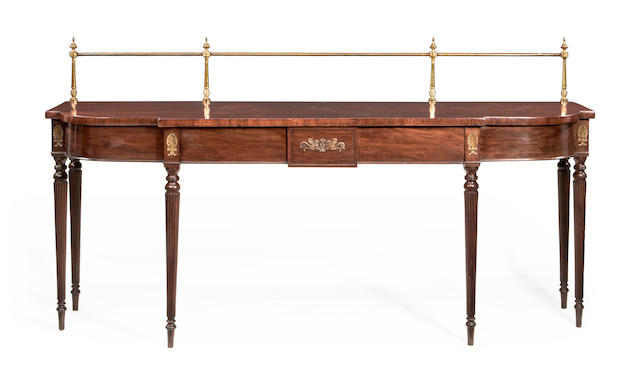 A Regency mahogany breakfront D-shaped serving table