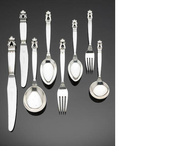 GEORG JENSEN: A silver Acorn (Konge) pattern table service of flatware, predominately impressed 925S, 1915 - 27 period mark, also with importers marks for George Stockwell, London 1925,   (73)