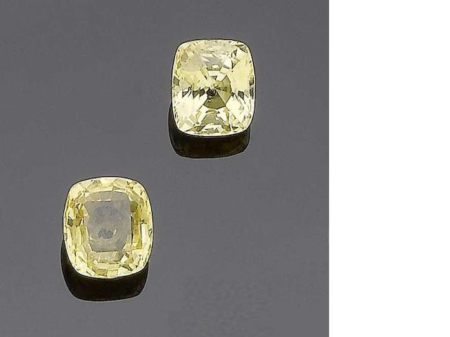 Two unmounted yellow sapphires (2)