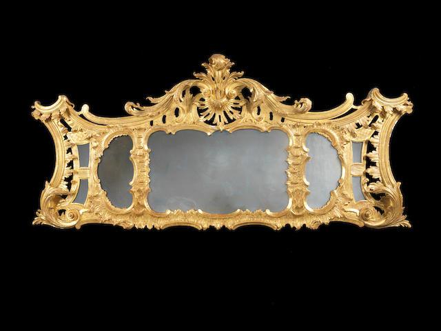 An Irish George II carved giltwood landscape mirror