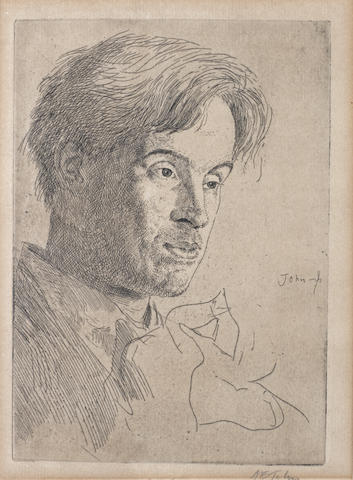 Sir Augustus Edwin John (British, 1878-1961) Portrait of William Butler Yeats Etching, 1907, on laid, with wide margins, signed in pencil, from an edition of 50, with pen inscriptions in lower margin 'Portrait of WB Yeats' and 'Imp  19/50', 178 x 125mm (7 x 4 7/8in)(PL)