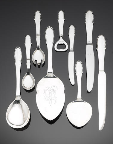 GEORG JENSEN: A silver Beaded (Kugle) pattern table service of flatware Predominately with marks for the period 1933 - 44, some earlier, also stamped STERLING DENMARK