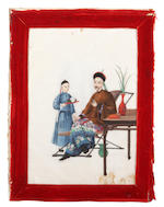 Chinese School, late 19th Century Warrior on horseback; Seated lady with attendant; Seated gentleman with attendant, (3)