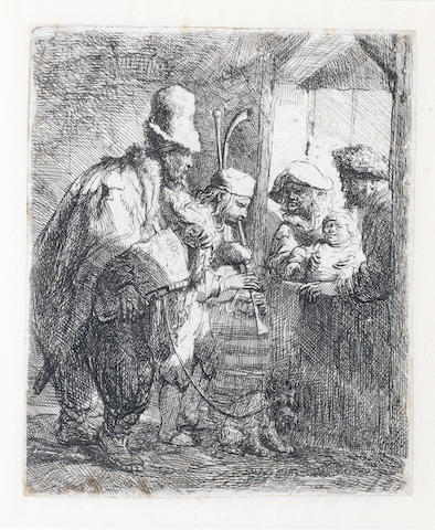 Rembrandt Harmensz van Rijn (Dutch, 1606-1669) The Strolling Musicians Etching, 1635, first state of two, on laid, trimmed to platemark, 140 x 115mm (5 1/2 x 4 1/2in)(PL)
