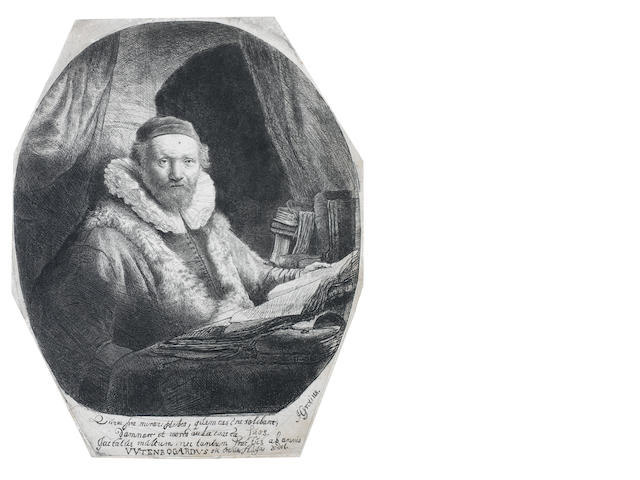 Rembrandt Harmensz van Rijn (Dutch, 1606-1669) Jan Uytenbogaert, Preacher of the Remonstrants Etching, 1635, on laid, fifth state of six, with the plate cut to an octagon and verses by Grotius below, on laid, trimmed to the platemark, 225 x 180mm (8 7/8 x 7 1/8in)(PL)  6th state on mount ??