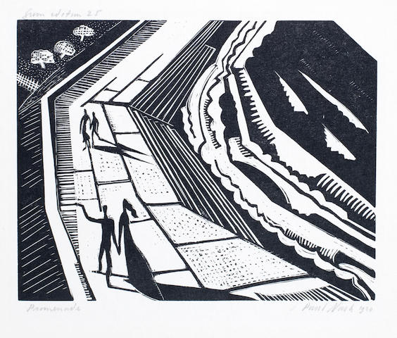 Paul Nash (British, 1889-1946) Promenade Woodcut, 1920, on wove, signed, titled, dated and inscribed 'from the edition of 25' in pencil, 115 x 145mm (4 1/2 x 5 3/4in)(I)