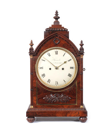 A good early 19th century rosewood bracket clock Barraud's, Cornhill, London, 1062