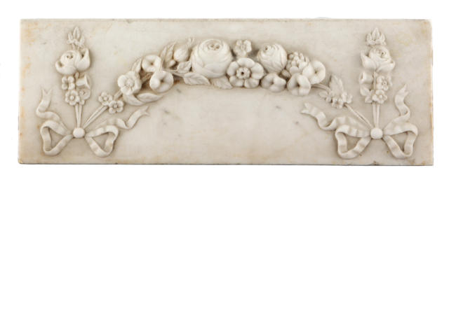 A George III white marble chimney piece tablet