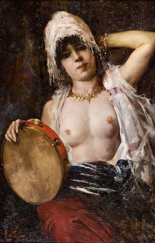 Girolamo Pieri Ballati Nerli (Italian, 1860-1926) Woman with Tambourine