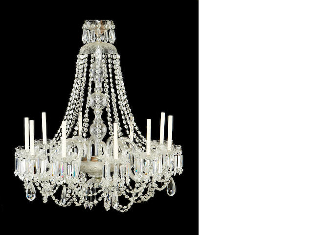 A George III style cut glass ten light chandelier