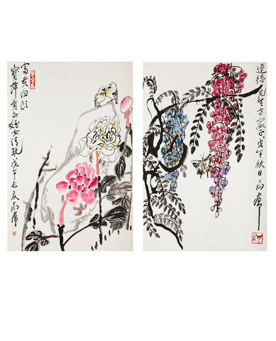 Ding Yanyong (1902-1978) Two Flowers Paintings
