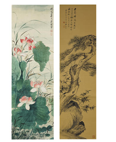 Wu Zishen (1894-1972) and Pu Quan (1913-1991) Pine Tree and Lotus