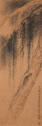 Chen Shuren (1883-1948) and Shen Yinmo (1883-1971) Willow and Calligraphy