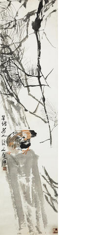Qi Baishi (1863-1957) A Bird Seeking Food under a Pine Tree