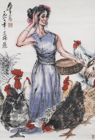 Huang Zhou (1925-1997) Feeding the Chicken