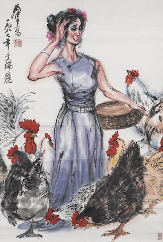 Huang Zhou (1925-1997) Feeding the Chicken