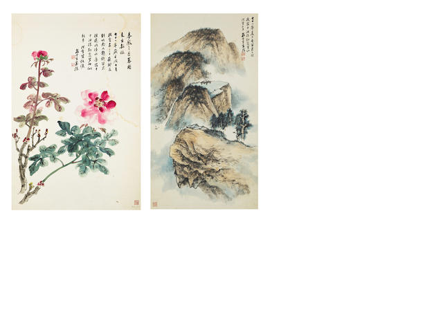 Sun Yunsheng (1918-2000) Landscape and Peonies