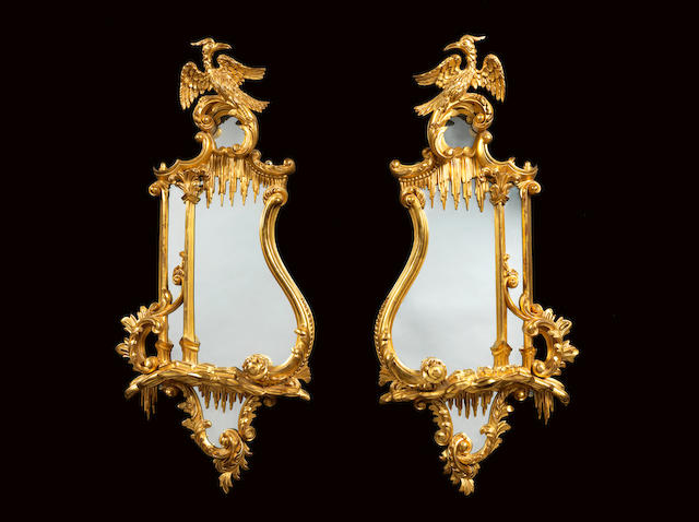 A pair of Victorian giltwood mirrors in the Chippendale style