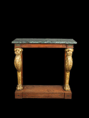 A Regency rosewood and parcel gilt console table