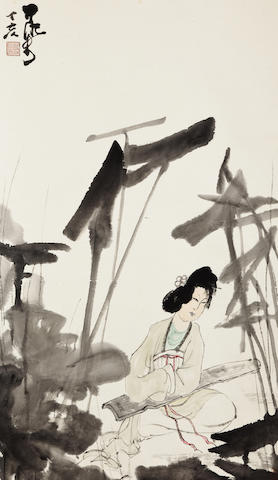 Li Keran (1907-1989)  Lady by the Lotus Pond